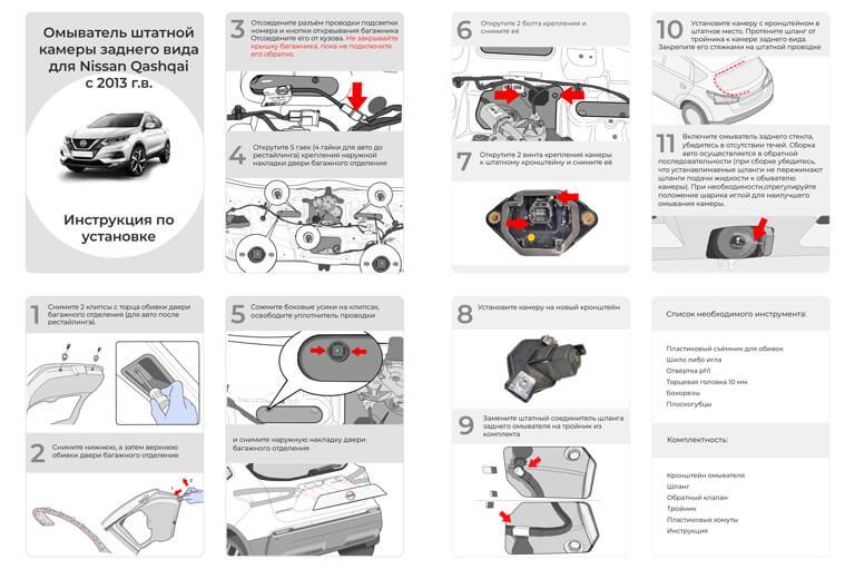 Инструкция по установке омывателя камеры заднего вида Ниссан Кашкай J11