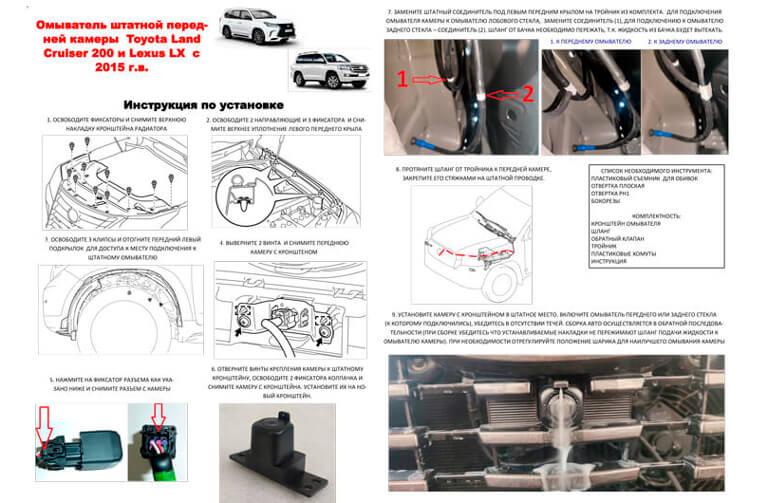 Инструкция по установке омывателя фронтальной камеры Lexus LX