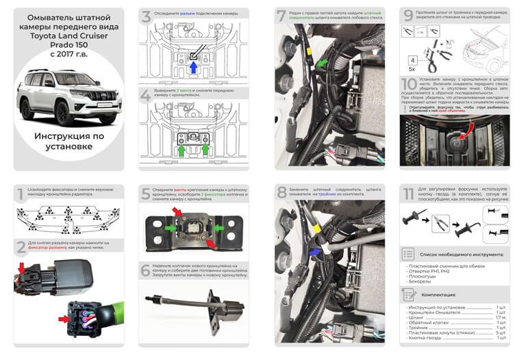 Инструкция по установке омывателя фронтальной камеры Land Cruiser 200